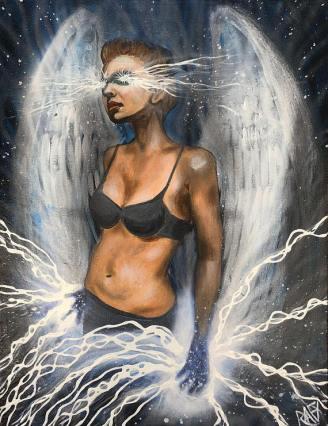 Angel Of Lightning Original Painting By Artist Rafi Perez