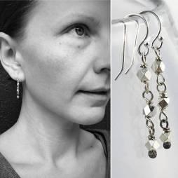 Geometric Silver Nugget Earrings Triad