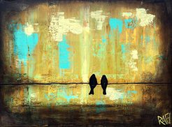 Love Birds On A Wire Original Painting by Artist Rafi Perez