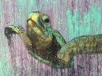 Sea Turtle Original Large Painting by Artist Rafi Perez