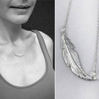 Sterling Silver Feather Necklace