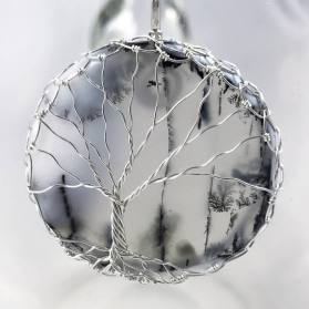 Tree of Life Necklace - Sterling Silver - Dendritic Agate - Misty Fronds