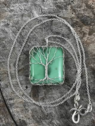 Tree of Life Necklace - Sterling Silver - Green Variscite - Mossy Calm