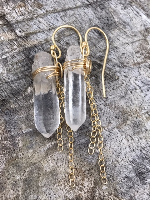 Gold Filled Quartz Crystal Tassel Earrings By Klee Angelie