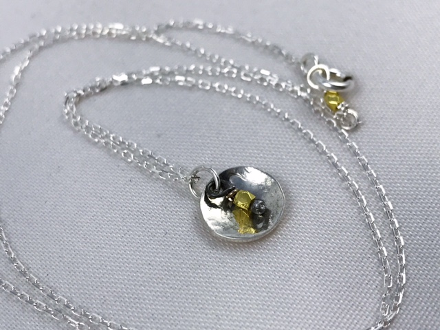 Sterling Silver and 14k Gold Mini Gong Disk Necklace